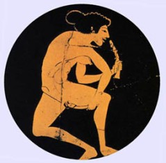Ancient painting of a Greek woman using two Olisbos (dildos)
